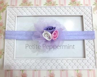 Lavender Baby Headband, Baby Flower Headband, Baby Hair Bow, Infant Headband, Toddler Headband, Little Girl Hair Bow
