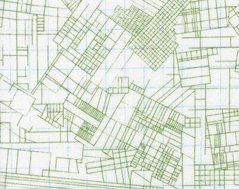 Architextures blueprints green Carolyn Friedlander Robert Kaufman fabric FQ or more
