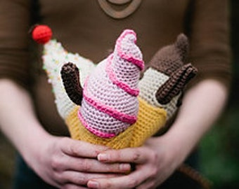 amigurumi ice creams pdf crochet pattern by Liz Ward