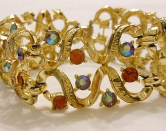 Coro gold toned set rhinestone bracelet