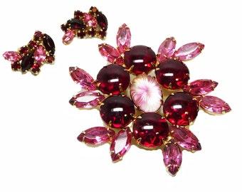 Pink Rhinestone Brooch & Earring Set - Vintage Demi Parure