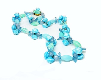 Blue Rosebud Beaded Necklace - Vintage Glass Beads - Signed Made in Germany