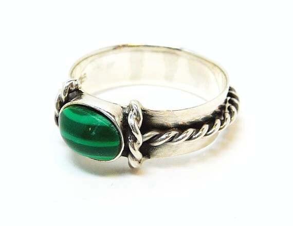 sterling silver malachite ring green gemstone by