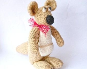 sale, crocheted kangaroo, toy kangaroo, Amigurumi kangaroo, plush animal doll