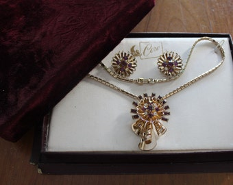 Coro Vintage Coro Jewelry Set Brooch Clipon Earrings with Matching Necklace Amethyst Rhinestones FREE SHIPPING