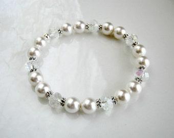 Crystal and White Pearl Bracelet Swarovski White Pearl Stretch Bracelet Pearl Wedding Bracelet
