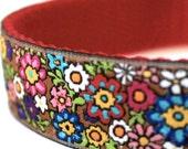 Flower Power Dog Collar, Adjustable Pet Collar, Ribbon, Spring Floral Garden Collar