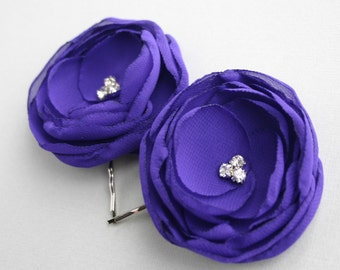 Purple Flower Hair Pieces, Flower Hair Clips, Wedding Hair Accessories, Floral Headpiece, Bridesmaid, Purple Hairpieces, Flower Hair Comb