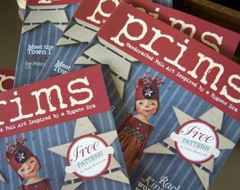 Brand New Prims Magazine Spring Summer 2015, prim art dolls, bears, mixed media art, birds, nest, Americana Primitive Art SVF folk art