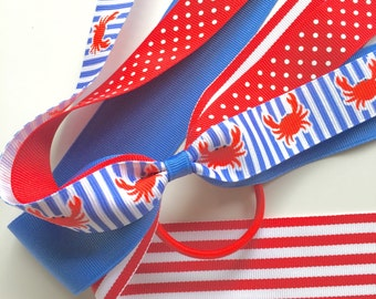 Patriotic Happy Crab Ponytail Streamer