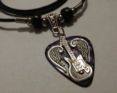 Reserved for Veronica Gonzales - Guitar Pick Necklace - Adjustable - Purple  - Silver Wings - Guitar Necklace - Christian Jewelry