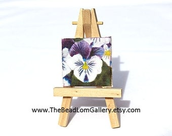 Dollhouse Miniature Oil Painting - Pansy - Square 2x2 Inches