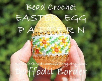 Easter Egg Pattern - Daffodil Border - Crochet PDF File TUTORIAL - Vol.8 with Swarovski Crystals