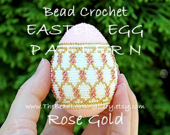 Easter Egg Pattern - Rose Gold - Crochet PDF File TUTORIAL - Vol.13 with Swarovski Crystals