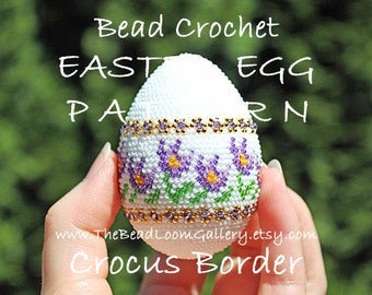 Easter Egg Pattern - Crocus Border - Crochet PDF File TUTORIAL - Vol.15 with Swarovski Crystals