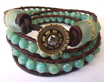 Made to Order   OAK Maui Three Wrap Leather Bracelet with Amazonite Stone Beads, Handmade Glass Beads & Antique Steel Cut Button