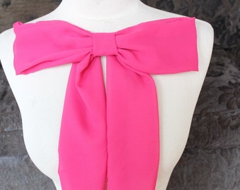 Cute pink color chiffon bow applique