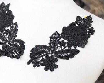 Cute venice  flower applique  black color 2  pieces listing