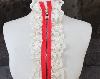 Cute zipper applique with ivory color ruffled 1 pieces listing 25 1/2 inches long 4 1/2 inches wide
