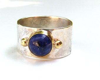 Handmade Engagement Ring, Fine 14k gold ring, silver ring ,blue Lapis Lazuli Gemstone' anniversary gift, statement ring, gift for her