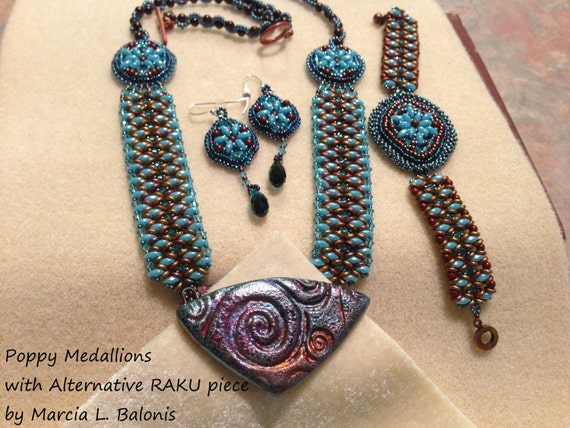 Kit and pattern tutorial medallion bead embroidery necklace