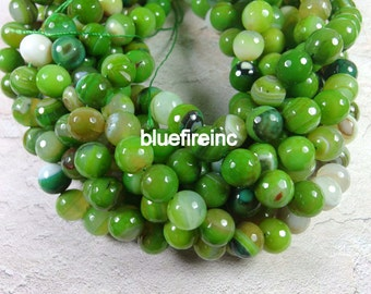 32 pcs 12mm round faceted Green agate beads