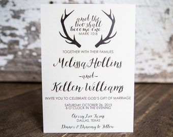 Wedding Invitation, Antler Wedding Invitation, Rustic Wedding Invitation- Antler Wedding Suite : A7 Wedding Invitations