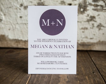 Modern Wedding Invitations, Contemporary Wedding Invitation, Monogram Wedding Invitations- Monogram Wedding Suite : A7 Wedding Invitations