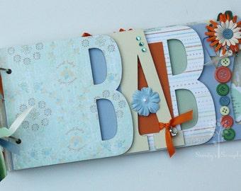 Baby scrapbook album, premade scrapbook, word chipboard album, gender neutral, baby shower gift, baby boy or baby girl, unisex baby UB10