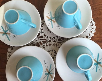 Atomic Cups and Saucers Hop Scotch Turquoise Pattern