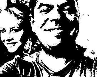 Custom Black & White Screen Printed Canvas Picture