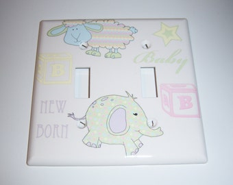 Unisex Baby Themed Double Light Switch Cover, Baby Gift, Nursery, Pastels, Lamb Elephant, Baby Blocks
