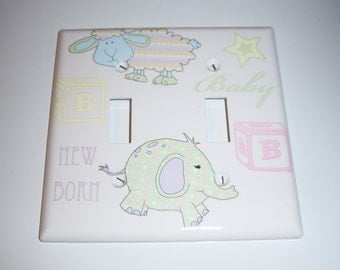 Unisex Baby Themed Double Light Switch Cover