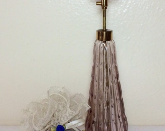 Vintage Perfume Atomizer Bottle Amethyst Glass Irice