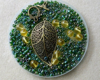 Antiqued Brass Leaf Pendant Charm, Green Glass Seed Beads, Yellow Quartz Beads, DIY Jewelry Kit, Necklace Kit, Bead Kit, Green Glass