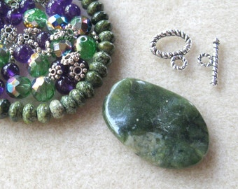 DIY Jewelry Kit, Green Jasper, Gemstone Pendant, Czech Glass, Purple Jade, Green Banded Jasper, Jewelry Making Beads, Christmas  Bead Kit