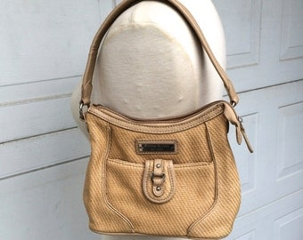 Etienne Aigner Handbag Small Tan Woven Handbag 90s Vintage Summer Purse