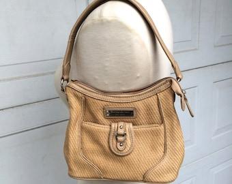 Etienne Aigner Handbag Small Tan Woven Handbag 90s Vintage Summer Purse