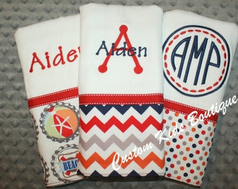 Boys Navy and Red Nautical Beach Baby Burp Cloth Gift Set- Set of 3 Custom Monogrammed Burp Cloths