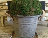 Moss Ball - Galvanized Tin with Burlap Straps