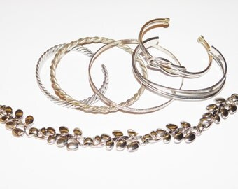 Silver toned silver metals bracelet lot