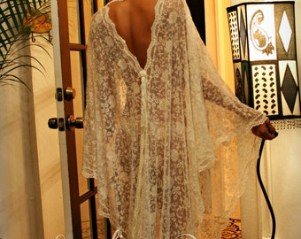 Exclusive Embroidered French Lace Bridal Robe Nightgown Wedding Sleepwear Ivorey Bridal Lingerie Bridal Robe Paris Chic Runway Collection