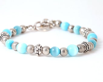 Blue Cats Eye Bracelet Sterling Silver Toggle Clasp 925 Bright Baby Blue Cute Minimalist Cool Clear Mood Jewelry Signed