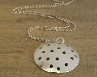 Sterling Silver Domed Necklace, Spotty Domed Necklace, Modern Jewelry on Etsy by Mary-anne Fountain