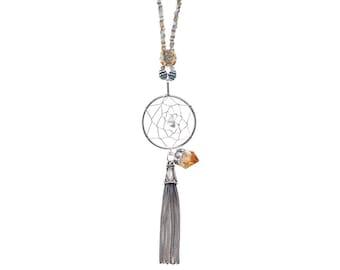 Bohemian necklace / citrine quartz dreamcatcher necklace / gemstone necklace / gemstone pendant / yoga jewelry / meditation jewelry