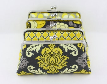 Mustard & Grey Bridesmaid Clutches - 8 inches Large Silver Frame Wedding Clutches - Set of 4