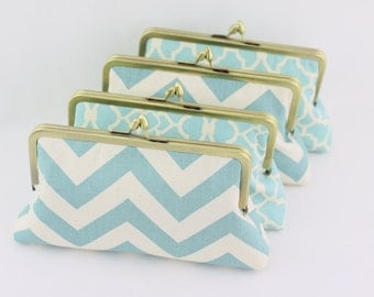 Dusty Blue Wedding Clutches / Country Style Bridesmaids Clutches - Set of 4
