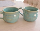 One Tea Cup Turquoise  Stoneware Mug Handmade Ceramic Coffee Cup Pottery Kitchenware