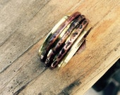 Wide Spinner Ring - Hammered Worry Ring -  Copper Spinner Ring - Brass Copper Spinner