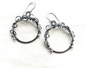 Wirework Hoop Earrings - Antiqued Sterling Earrings - Hammered Hoops - Sterling Silver Hoop Earrings